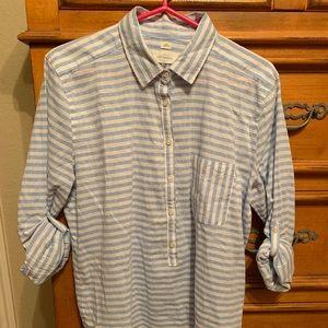 LOFT softened blue & white striped blouse